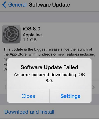 An error occurred downloading ios 8