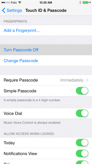 turn off passcode