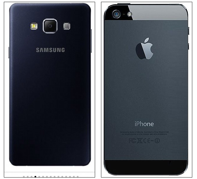 Samsung's Galaxy A7 (left) and the iPhone 5 (right)