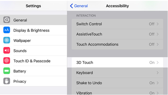 3D touch setting