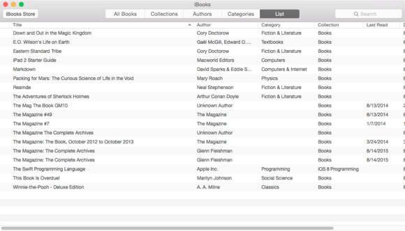 iBooks list view in OS X