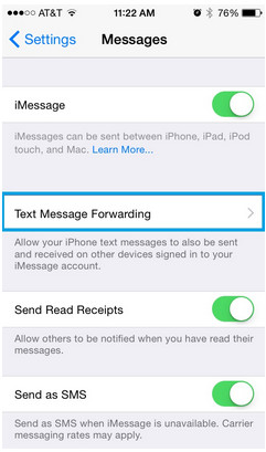 iphone text messages forwarding
