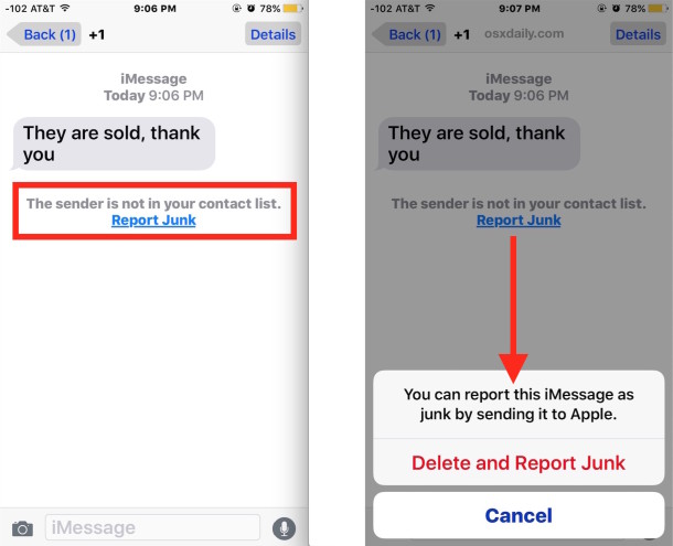 How To Report Imessage Spam As Junk Amp Delete The Message