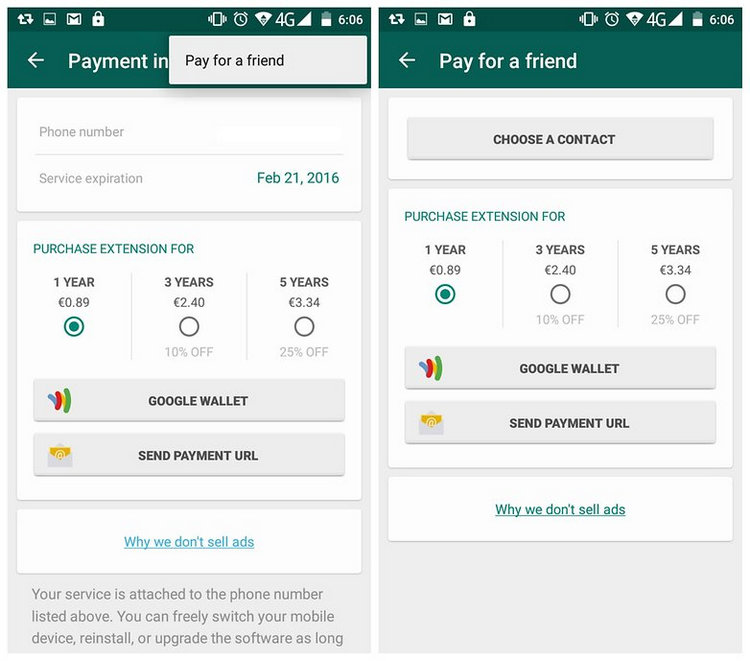 pay for whatsapp
