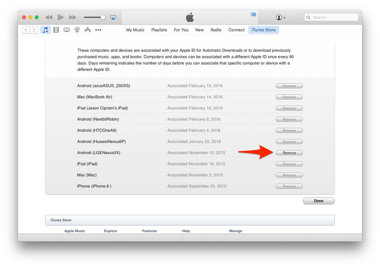 Remove devices from itunes account