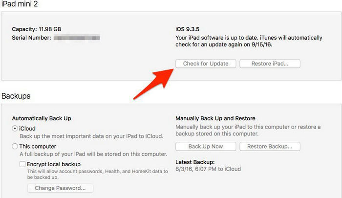 check for itunes update