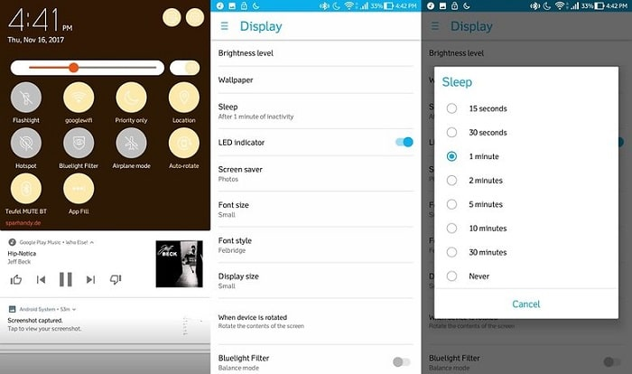 display settings on android device
