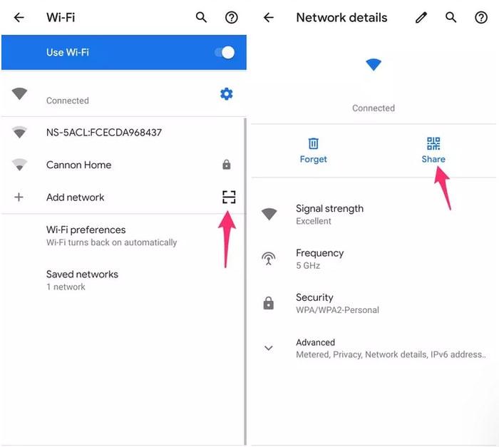 WiFi and QR code settings