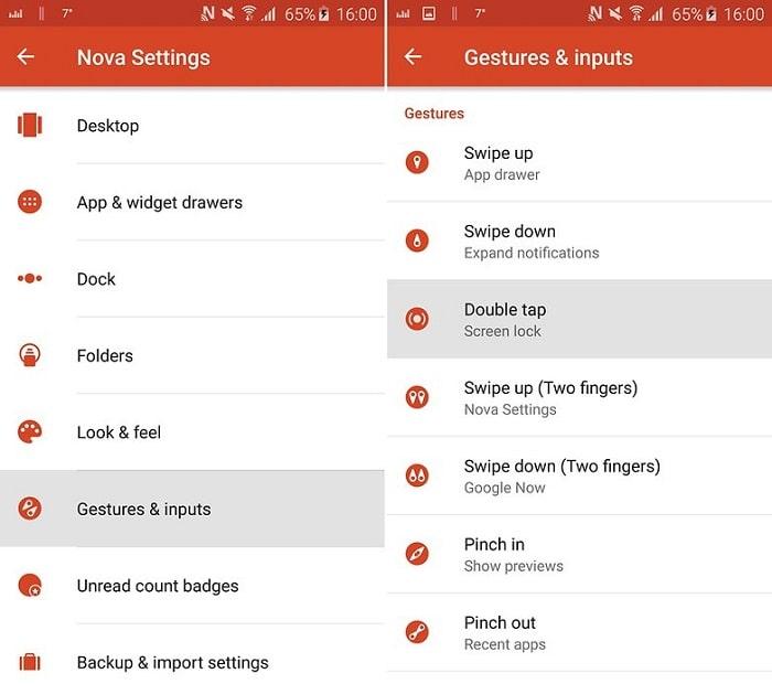 double tap to locak on Huawei nova phone