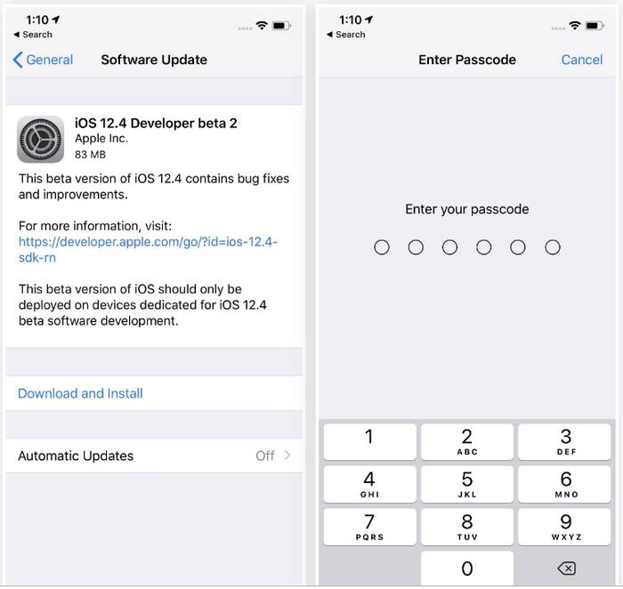 upgrade to iOS 12.4