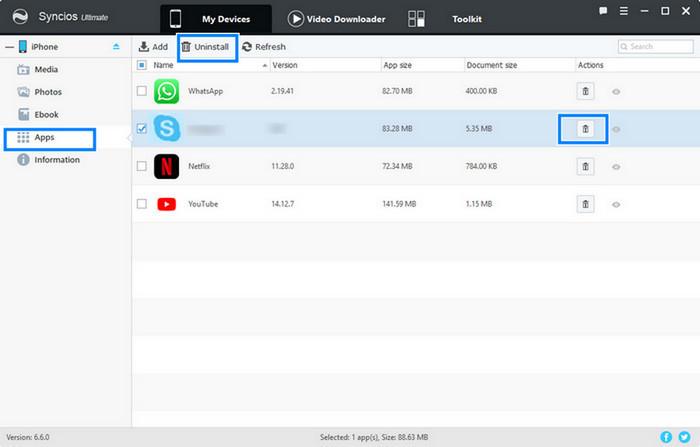 delete skype app on iPhone