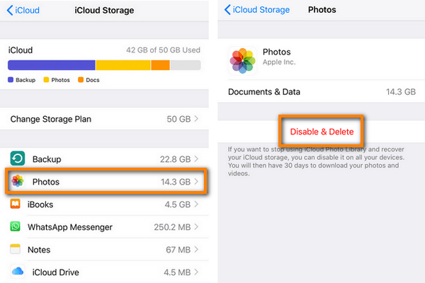 Exclude photos from iCloud Backup.