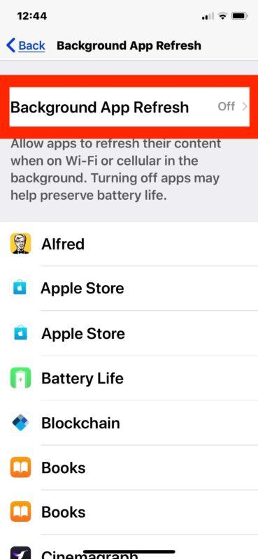 turn off Background App Refresh