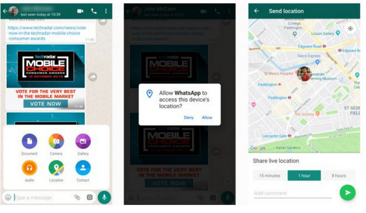 grant WhatsApp permission to use the location tracking