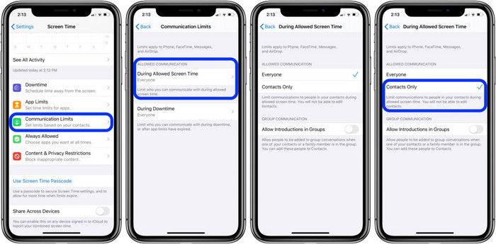 set time limits on iOS 13