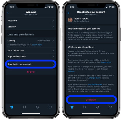 delete Twitter account on iPhone